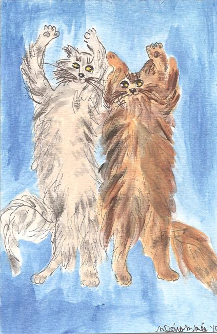 Art: maine coons dancing in the street by Artist Nancy Denommee