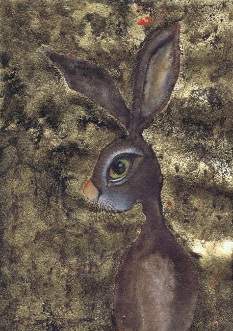 Art: HARE IN GOLD h3317 sm by Artist Dawn Barker