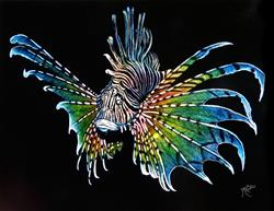 Art: Rainbow Lionfish  (SOLD) by Artist Monique Morin Matson