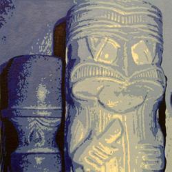Art: Tikis in Blue by Artist Elisa Hirt