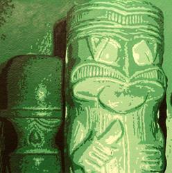 Art: Tikis in Green by Artist Elisa Hirt