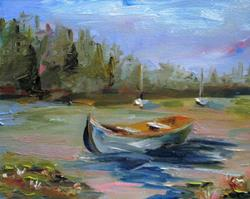 Art: Row Boat on the Lake by Artist Delilah Smith