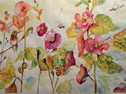 Art: Hollyhocks,Hummingbird and Dragonfly by Artist Delilah Smith