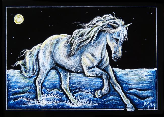 Art: Moonlit Run  (SOLD) by Artist Monique Morin Matson