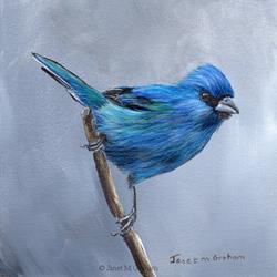 Art: Indigo Bunting by Artist Janet M Graham