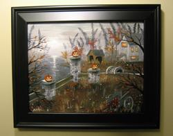 Art: Halloween Harvest JA Blackwell Hand painted framed canvas print details 0 by Artist J A Blackwell