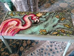 Art: The Flamingo Piano Bench by Artist Chris Jeanguenat