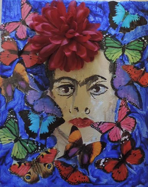 Art: frida with butterflies by Artist Nancy Denommee