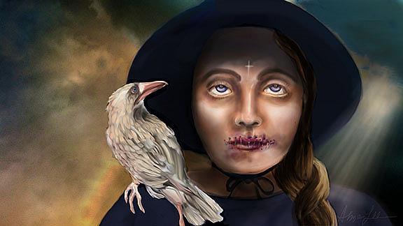 Art: White Raven by Artist Alma Lee