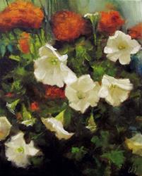 Art: Petunias and Marigolds by Artist Christine E. S. Code ~CES~