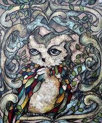Art: The Shy Owl by Artist Chris Jeanguenat
