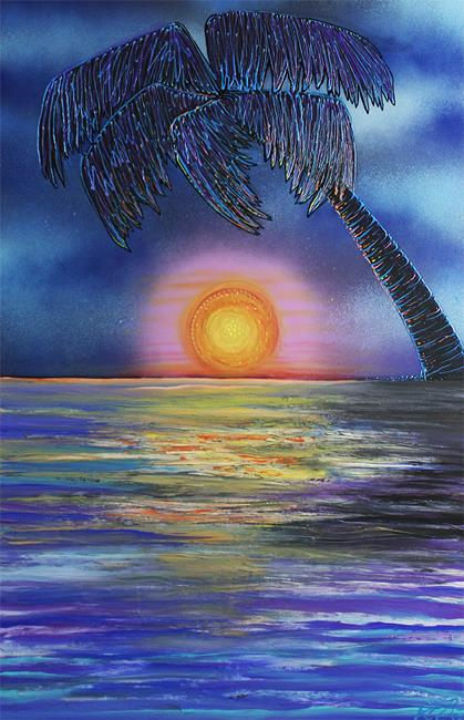 Art: Tropical Sunset 2 by Artist Laura Barbosa