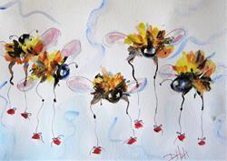 Art: Long Legged Bees by Artist Delilah Smith