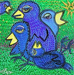 Art: Birds of Blue 2 by Artist Laura Barbosa