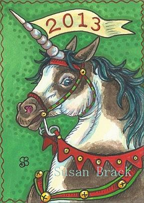 Art: NEW YEAR UNICORN by Artist Susan Brack