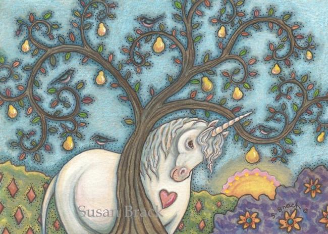 Art: PEAR TREE AND UNICORN by Artist Susan Brack