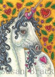 Art: UNICORN'S GARDEN OF HEARTS by Artist Susan Brack