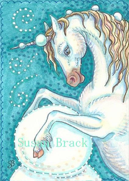 Art: UNICORN SNOWMAN by Artist Susan Brack