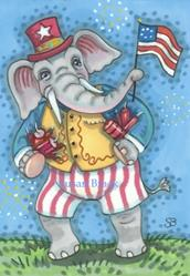 Art: GRAND OLE FLAG ELEPHANT by Artist Susan Brack