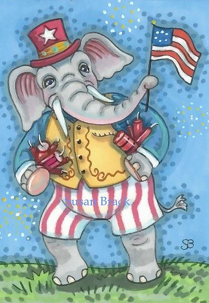 Art: GRAND OLE FLAG ELEPHANT by Artist Susan Brack