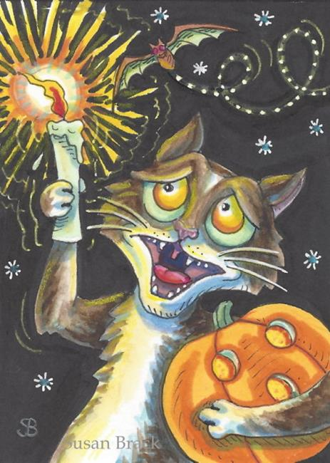 Art: SCAREDY CAT Halloween by Artist Susan Brack