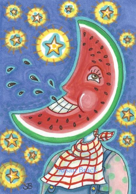 Art: WATERMELON MAN IN THE MOON by Artist Susan Brack