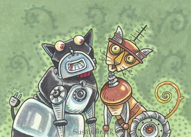 Art: BULLDOG AND KITTY a.k.a. ROBO PETS by Artist Susan Brack