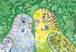 Art: Parakeet Love 1 by Artist Melinda Dalke