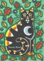 Art: HALLOWEEN CANDY CORN CAT by Artist Susan Brack