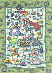Art: KITTEN'S PICNIC by Artist Susan Brack