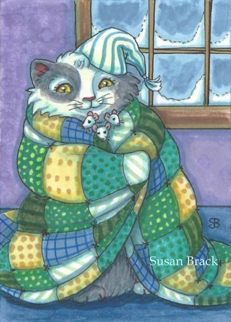 Art: QUILTS KEEP YOU COZY, FRIENDS WARM YOUR HEART by Artist Susan Brack