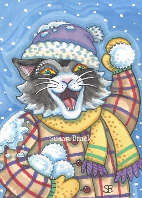 Art: SNOWBALL FIGHT by Artist Susan Brack