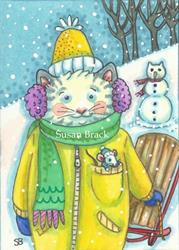 Art: SNOW DAY Cat And Mouse by Artist Susan Brack