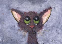 Art: THINKING CAT c324 by Artist Dawn Barker
