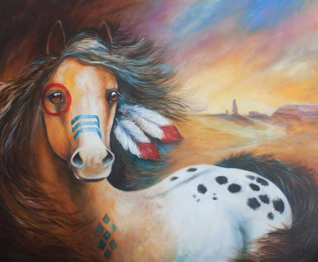 Art: SOUTHWEST INDIAN WAR HORSE COMMISSION by Artist Marcia Baldwin