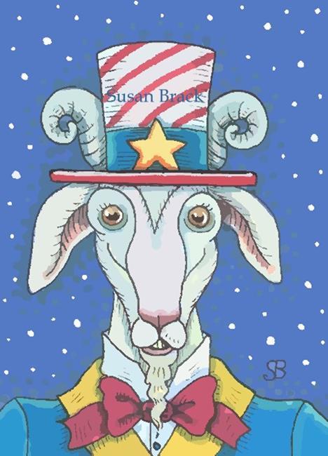 Art: OLD GOAT UNCLE SAM by Artist Susan Brack