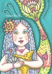 Art: BIRTHDAY MERMAID by Artist Susan Brack