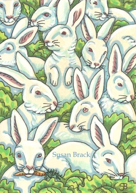 Art: HARES AND CABBAGE by Artist Susan Brack