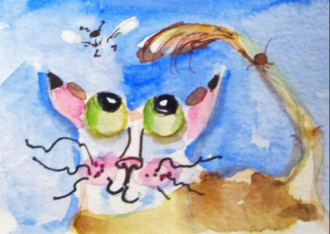 Art: Cat and Bee by Artist Delilah Smith