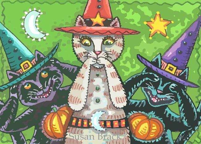 Art: BOO KITTIES SPEAK NO EVIL by Artist Susan Brack