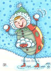 Art: HAPPY SNOWBALLS by Artist Susan Brack