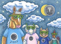 Art: BARNYARD ECLIPSE 2017 by Artist Susan Brack