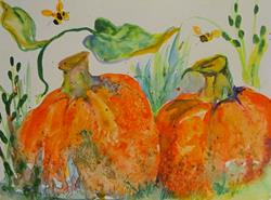 Art: Two Pumpkins by Artist Delilah Smith