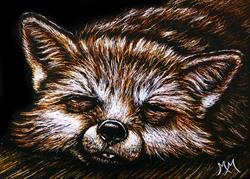 Art: Sleepy Fox  (SOLD) by Artist Monique Morin Matson