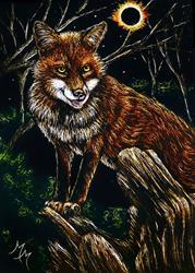Art: Hungry Eclipse Fox by Artist Monique Morin Matson