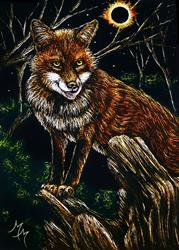 Art: Hungry Eclipse Fox  (SOLD) by Artist Monique Morin Matson