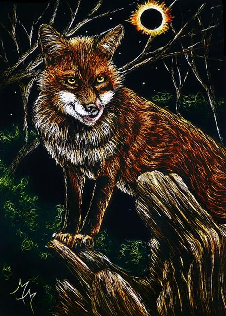 Art: Hungry Eclipse Fox  (SOLD) by Artist Monique Morin Matson