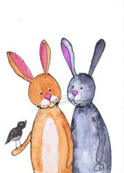Art: TWO HARES & A MOUSE h2054 by Artist Dawn Barker