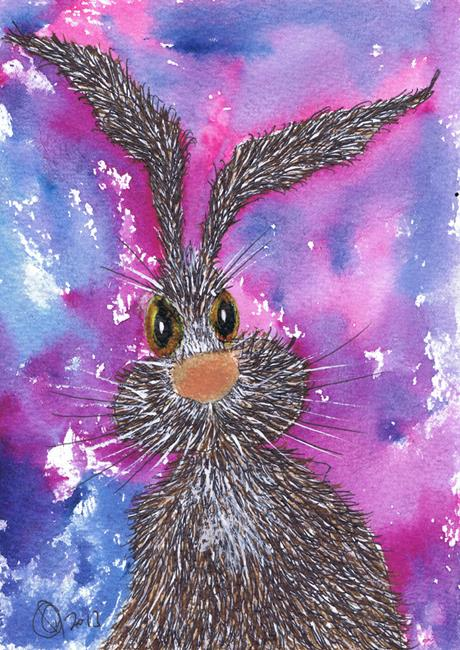 Art: MESSY HARE h2046 by Artist Dawn Barker