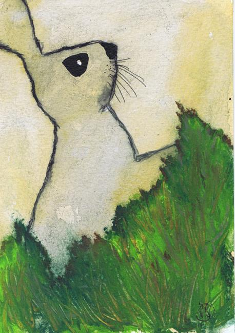 Art: HARE IN THE GRASS h348 by Artist Dawn Barker